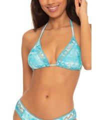 women's becca up in the clouds triangle bikini top, size d - blue/green