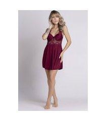 camisola feminina serra e mar modas com bojo em tecido canelado vinho