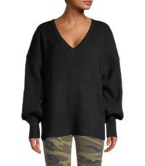 sweet romeo women's blouson-sleeve sweater - cornflower - size l