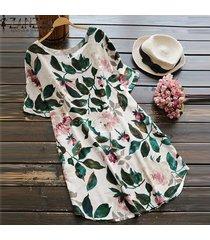 zanzea mujeres más el tamaño de una línea de boho floral vestido de tirantes vestido de fiesta de la playa de algodón (de manga corta) -blanco