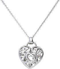 collana lunga acciaio con charm cuore per donna