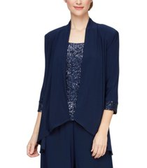 alex evenings sequin open-front jacket & sleeveless top