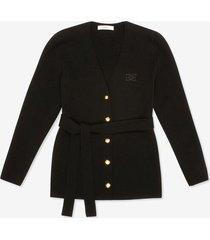 belted cardigan black 42