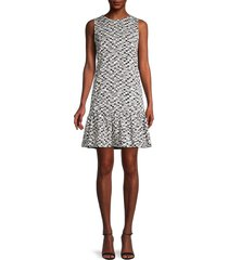 akris punto women's ikat abstract drop-waist dress - black cream - size 14