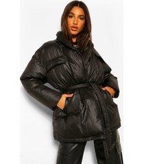 gewatteerde gecoate satijnen wikkel jas ceintuur, black