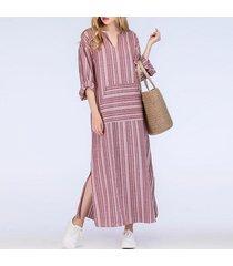 zanzea mujeres de rayas de manga larga a rayas plus maxi largo del vestido de la túnica -rojo