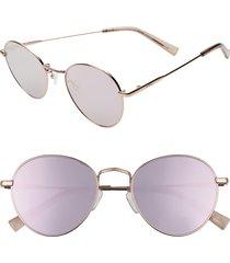 women's le specs zephyr deux 50mm round sunglasses - rose gold/ peach mirror