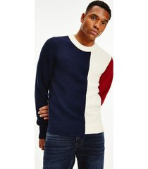 tommy hilfiger men's colorblock crewneck sweater desert sky/ regatta red/ ivory - xl