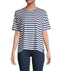 madewell women's striped linen-blend t-shirt - royal blue - size s