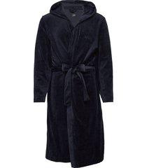 velour hooded gown morgonrock badrock blå boss