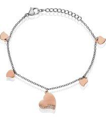 bracciale cinque charm cuore in acciaio bicolore e strass per donna