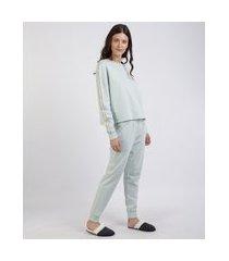 pijama de moletom feminino com faixa lateral manga longa azul