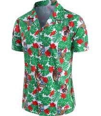 tropical leaf tiger print beach button up short sleeve shirt