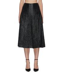 a-line pleat wool silk blend midi skirt