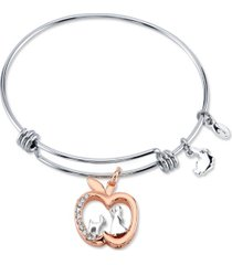 snow white crystal apple charm adjustable bangle bracelet in two-tone stainless steel for unwritten