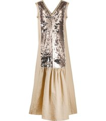 alysi sequin embroidered panel dress - brown