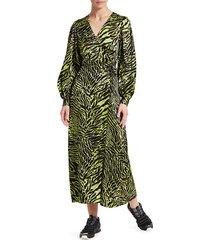 ganni women's stretch silk satin tiger-stripe wrap dress - lime tiger - size 38 (6)