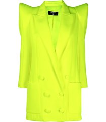 balmain structured-shoulder double-breasted coat - yellow