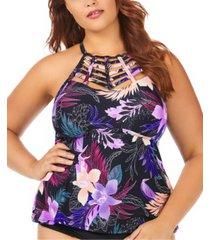 raisins curve trendy plus size juniors' lagide printed boa high neck tankini top women's swimsuit