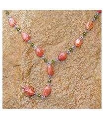 carnelian y necklace, 'orange marmalade' (thailand)