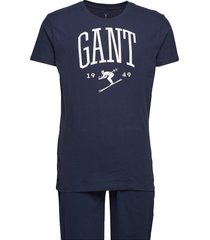 pj set jersey holiday t gift box pyjama blauw gant