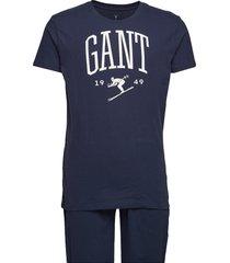 pj set jersey holiday t gift box pyjama blauw gant