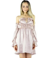 vestido liage curto ombro a ombro manga comprida cetim rosa claro/ rosa antigo cintilante