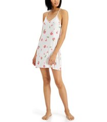 inc lace-back printed knit chemise nightgown, created for macy's