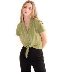 blusa para mujer cuello en v, manga corta, botones frontales, semi corta color-verde-talla-xs