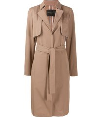 fabiana filippi belted mid-length coat - brown