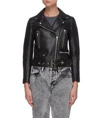 cropped lambskin leather biker jacket