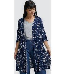kimono flores blancas color azul, talla 10
