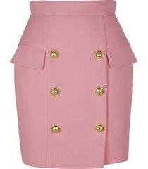 balmain button embellished short skirt