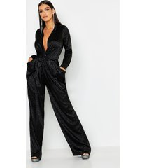 leopard satin jacquard twist jumpsuit, black