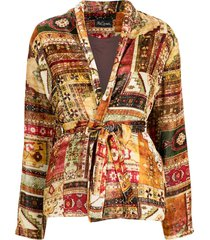 mes demoiselles belted patch-work blazer - red