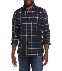 men's barbour highland check no. 19 tailored fit flannel shirt, size xx-large - blue