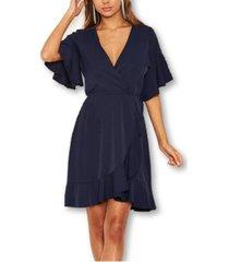 ax paris frill sleeve wrap mini dress