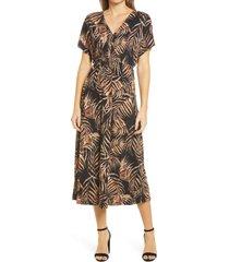 women's bobeau tropical stretch knit dress, size xx-large - black