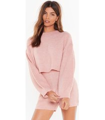 womens when in doubt knitted shorts lounge set - nude