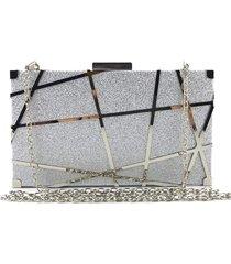 bolsa clutch liage brilho fosca alça removível prata