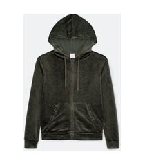 jaqueta básica esportiva plush com capuz e bolso canguru | get over | verde | gg
