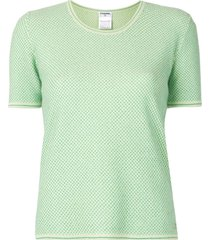 chanel pre-owned 2001 lurex detailing knitted t-shirt - green