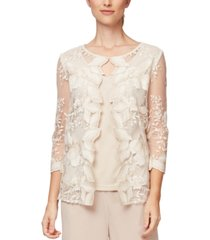 alex evenings embroidered jacket & camisole