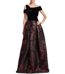 theia women's velvet & brocade ball gown - black red grey - size 4