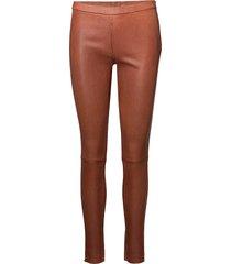 12040 leather leggings/byxor brun depeche