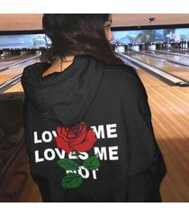 warm thicker sexy love me letter print rose hoodies women hooded drop shoulder l