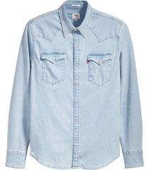 levi's barstow western denim shirt blauw