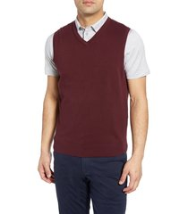 men's big & tall cutter & buck lakemont v-neck sweater vest, size 3xb - red