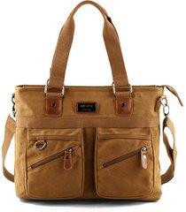 vintage canvas handbag multi-slot crossbody borsa per 14 pollici computer solid shoulder borsa