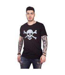 camiseta 4 ás manga curta caveira masculina